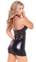 Sleeveless wet look mini dress with plunging V neckline, halter style neck with collar detail, and an enticing perforated faux leather front panel. Full wet look back.