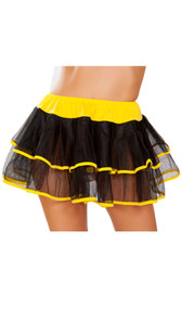 Mesh double layer petticoat with contrast trim and satin elastic waistband.