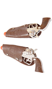 Plastic toy cowboy guns with holsters. Pair.