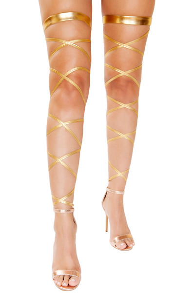 """Metallic gold leg straps with attached thigh garter. 100"""" long straps, wrap around your leg and tie. 2 per package."""