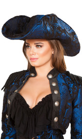 "Captain of the Night deluxe pirate hat features a floral dark blue and black brocade fabric. Non-adjustable, slightly padded soft material. Measures about 18"" from front to back."