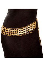 Belly dancer coin wrap hip belt features gold colored decorative medallions on chain with adjustable lobster clasp closure.