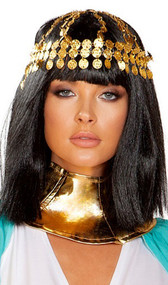 Gold coin headpiece features decorative medallions on chain that wrap around the head, a large black jewel that sits on the center top of the head, and chain fringe that hangs in the back.