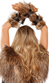 Faux fur arm cuffs with attached faux leather straps. Pair.