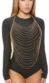 Draped body chain with halter neck and adjustable lobster clasp closure.