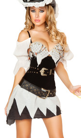 Sexy Shipwrecked Sailor costume includes waist cincher with belt detail and lace up back, beaded bra top with attached sleeves, asymmetrical skirt, grommet belt, and sword. Five piece set.
