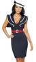 Captain's Choice sailor costume includes sleeveless midi dress with deep v neckline, back slit, and sailor bib with contrast trim. Belt and hat with bow are also included. Three piece set.