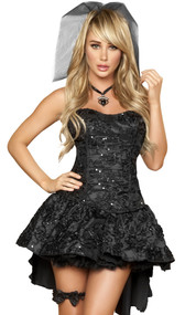 Black Widow Bride costume includes strapless corset with embroidered floral detail, matching skirt with bustle and large satin bow, short veil and leg garter.