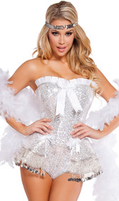 Flirty Flapper costume includes strapless sequin romper with silver fringe coin detail, white ruffle trim, satin bow details, and lace up back. Silver sequin headband also included.