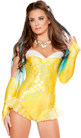 Yellow Mermaid costume includes strapless romper with scale pattern, iridescent mermaid fins, and white trim. One piece set.