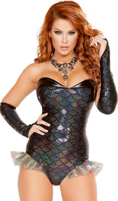 Dark Mermaid costume includes strapless romper with scale pattern, iridescent mermaid fins, and black trim. One piece set.