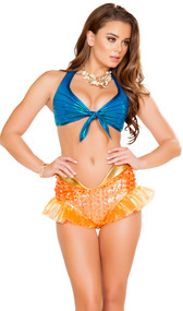 Naughty Mermaid costume includes halter tie front crop top with sea shell look, and high shorts with scale pattern, iridescent mermaid fins, gold trim and zipper back. Two piece set.
