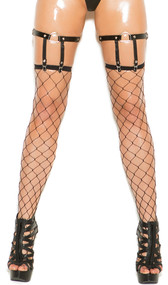 Leather leg garters with D-ring and spiked conical stud details. Back is elastic and adjustable for a correct fit. Garter straps are elastic but are not adjustable. Pair.