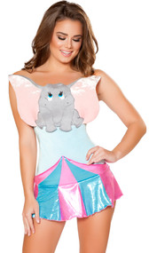 Circus Elephant costume includes strapless romper with elephant character detail, and metallic pullover circus tent skirt. Two piece set.