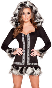 Naughty Native Babe costume includes long sleeve dress with dress with hood, faux fur feather trim, and zipper front.