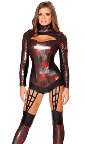 Web Spinner costume includes long sleeve metallic bodysuit with spider web print, mock neck, cutout front, zipper back and attached footless leggings with spider web detail.