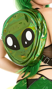 Iridescent mini backpack featuring an alien face with adjustable straps and hanging loop. Features two separate zipper compartments.