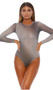 Sheer mesh bodysuit features sparkle ombre pattern, long sleeves, zipper back closure, and cheeky cut back. Lined closed crotch.