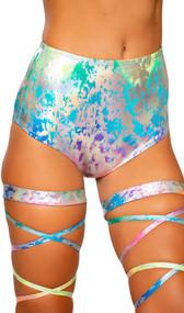 Metallic rainbow splash high rise shorts. Pull on style.