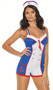 Sassie Sailor costume includes sleeveless patriotic colored romper with faux button, mini tie and anchor detail, v neckline, striped criss cross shoulder straps, and keyhole back. Hat also included.  Two piece set.