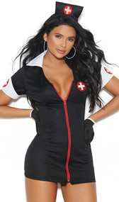 After Dark Nurse costume includes short sleeve mini dress with v neckline, collar, medical cross patches and zipper front. Head piece and gloves also included. Three piece set.