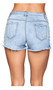 Low rise cut off jean shorts feature lace up sides, a button zipper fly front, five pocket design, belt loops, frayed trim and distressed patches on front and back.