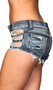 Denim shorts with distressed cut out sides, frayed trim, button fly closure, belt loops and back pockets.