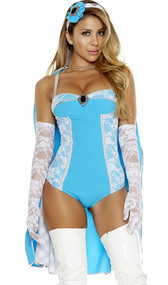 Tea Time costume includes sleeveless bodysuit with lace insets, silver trim and decorative gem accent. Matching cape with contrast silver trim, high collar and checkerboard insets. Elbow length lace gloves and head piece also included. Four piece set. Boots sold separately.