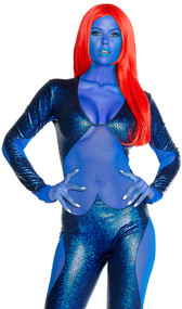 Mysterious Superhero costumes features a mystique-ly hot shimmery blue hologram jumpsuit with mesh insets. One piece set.