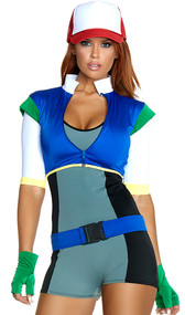 On The Hunt cartoon character costume includes a two-tone bodycon romper, zip front bolero jacket, belt, fingerless gloves and hat. Five piece set.