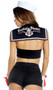 Feelin' Nauti sailor costume includes a nautical sleeveless crop top with lace up front and bib with screen print anchor with the words Feelin' Nauti. Also includes high-waisted shorts with faux button detail and zipper back, sailor hat and gloves with bow detail. Four piece set.