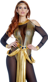 Top of the Pyramid Cleopatra costume includes long sleeve cold shoulder mesh jumpsuit with metallic gold contrast, and belt with drape and blue gem accent. Two piece set.