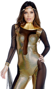 Call Me Cleo Cleopatra costume includes long sleeve metallic illusion jumpsuit with sheer contrast, metallic collar and arm drape. Three piece set.