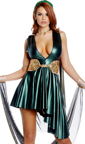 More than a Myth Medusa costume includes sleeveless metallic asymmetrical dress with plunging neckline and attached cape. Snake print belt and arm drape also included. Three piece set.