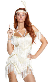 Jazzed Up Flapper costume includes cold shoulder fringe mini dress with zig zag hem and metallic gold trim. Feather headband also included. Two piece set.
