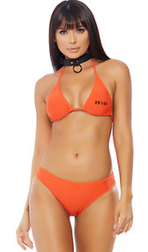 Cuffing Season inmate costume includes triangle bikini top with halter neck and inmate number on front. Matching cheeky shorts with Inmate printed on back. Two piece set.