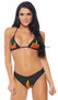 Straight Fire Racer Girl costume includes adjustable triangle bikini top with halter neck and flame print. Matching cheeky shorts also included. Two piece set.