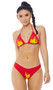 Fired Up Racer Girl costume includes adjustable triangle bikini top with halter neck and flame print. Matching cheeky shorts also included. Two piece set.