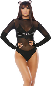 Sly Kitty costume includes long sleeve mesh and matte bodysuit with cat nose, whisker and paw design, and cat ear headband with rhinestone detail. Two piece set. Boots not included.