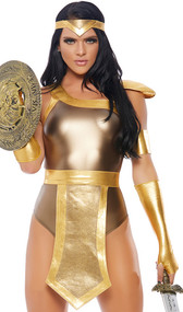 Gold Up Gladiator costume includes sleeveless metallic bodysuit with zipper back, belt with apron panel and back hook and loop closure, arm cuff, and long fingerless gloves. Four piece set.