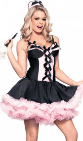Sassy Maid costume includes stretch Lycra sleeveless mini dress with ruffled cups, satin bow details, and built in attached mini petticoat. Also includes hat. Two piece set.