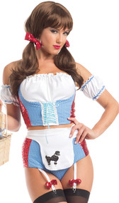 Desirable Dottie costume includes checkered halter crop top with hook and loop closure behind the neck, lace up front detail, ruffled top, red sequin sides, and back hook and eye closure. Matching shorts with attached adjustable garters and back zipper closure. Apron with dog applique, matching arm bands and sequin hair bows also included. Five piece set.