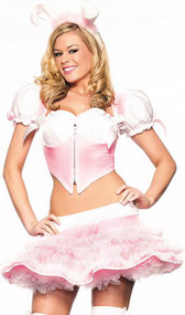 Bunny Hug costume includes crop top with short puff sleeves, large satin bows on sleeves, zipper front and ruffle cups. Mini pull on skirt with white mesh row details on outside. Furry rabbit ears with satin finish on one side, and pink marabou trim.  Three piece set.
