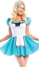 Wonderland Hero costume includes short sleeve mini dress with puff sleeves, tulle overlay, satin bow, attached apron, ruffle trim, and back zipper closure with satin tie.