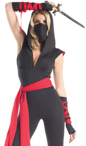 Mortal Ninja costume includes hooded bodysuit with cap sleeves, v neckline and dragon emblem on back. Also includes mask, sash, fingerless gloves, and wraps. Five piece set.