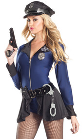 Flip the Badge police officer costume includes long sleeve mini dress with zipper front, collar with POLICE patch and flyaway skirt. Blue hot shorts, belt, badge, walkie talkie, handcuffs, and hat also included. Seven piece set.
