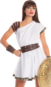 Gallant Gladiatrix costume includes toga with faux leather straps and gold pattern trim, matching belt, and wristbands. Three piece set.