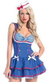 On Deck Sailor costume includes sleeveless mini dress with adjustable straps, striped cups with gathered front and lace trim, gold faux button detail, satin bows with anchor charms, contrast red trim, built in petticoat, and attached rear bib. Hat with red bow also included. Two piece set.