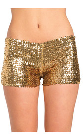 Low rise sequin booty shorts, pull on style.