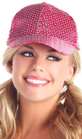 Sequin baseball hat with adjustable hook and hoop closure.